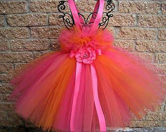 PINK ORANGE CORAL - Tutu Dress - Flower Girl Gown - Pageant Girl Dress- First Birthday Dress - Girls' Tutu Dress -Baptism Gown -