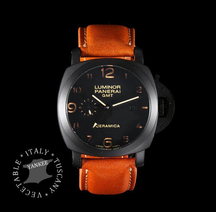 BORAZI Series Premium Italian Yankee Leather Watch Strap for PANERAI Watch - Honey Brown