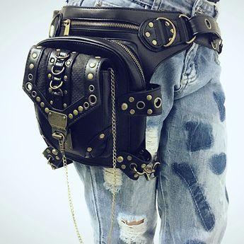 Высокое качество искусственная кожа мужская хип ног пояс бум талии поясную сумку панк рок винтаж посланник креста тела сумка купить на AliExpress