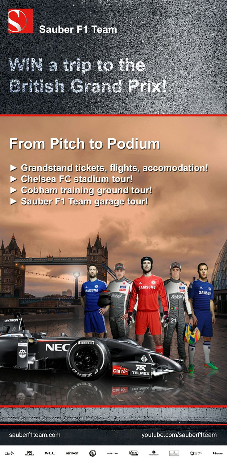 WIN a trip to the #BritishGrandPrix with #ChelseaFootballClub and #SauberF1Team! Enter here ► http://che.lc/jFTer5 ◄ Grandstand tickets, flights, accomodation! ► Chelsea FC stadium tour! ► Cobham training ground tour! ► Sauber F1 Team garage tour! #F1 #CFC33 #PitchToPodium #FormulaOne #Formula1 #BritishGP