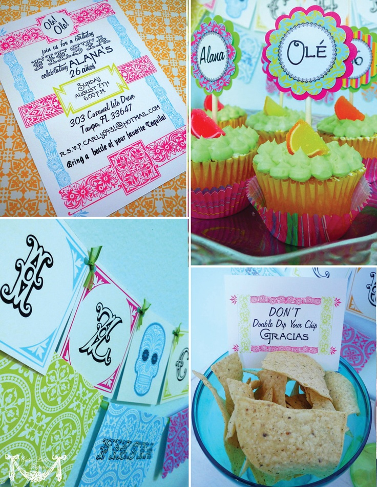 Vintage Fiesta Party, Mexican Party - PRINTABLE PARTY COLLECTION - Cutie Putti Paperie. $50.00, via Etsy.