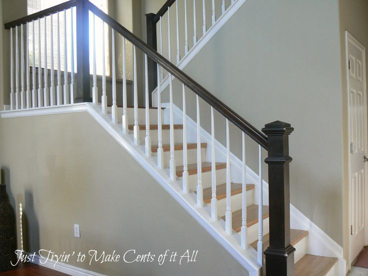 Two Toned Stairs With Square Newel Posts Doors Trim And