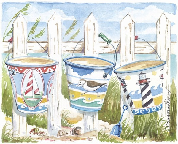 Charming print of vintage tin sand pails waiting for seashell collecting.