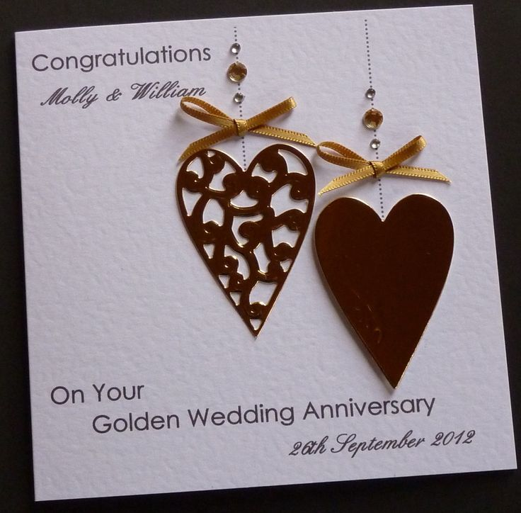 Handmade Personalised Golden 50th Wedding Anniversary Card