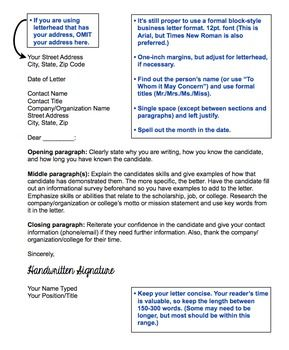 reference letter or recommendation letter