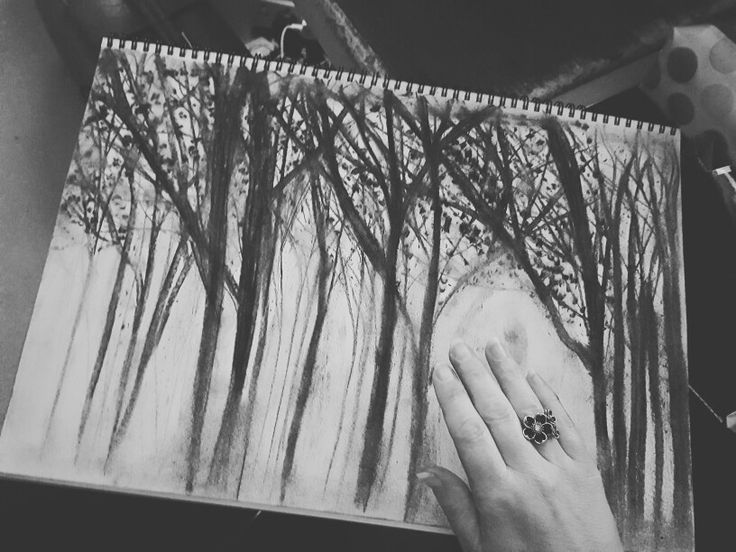 Forest tree sketch in charcoal #tree #charcoal