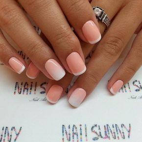 Beautiful summer french nails, Fashion nails 2016, French manicure, french manicure news 2016, Gradient french manicure, Gradient nails 2016, Ideas of gradient nails, Interesting nails