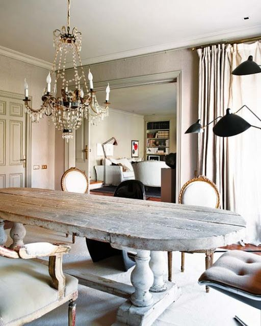 NOIR BLANC un style. Rustic dining table.