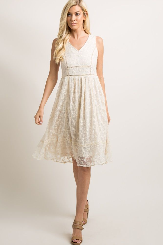 dd68ce0a42ed Ivory Lace Overlay Crochet Accent Midi Dress in 2019 | My Dream ...