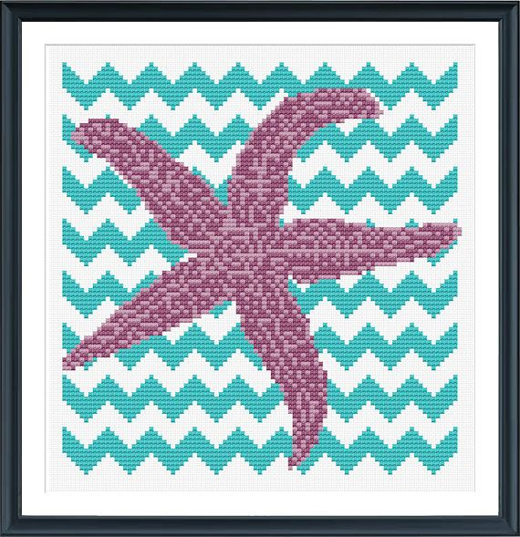 Chevron Starfish Cross Stitch Pattern Instant by tinymodernist