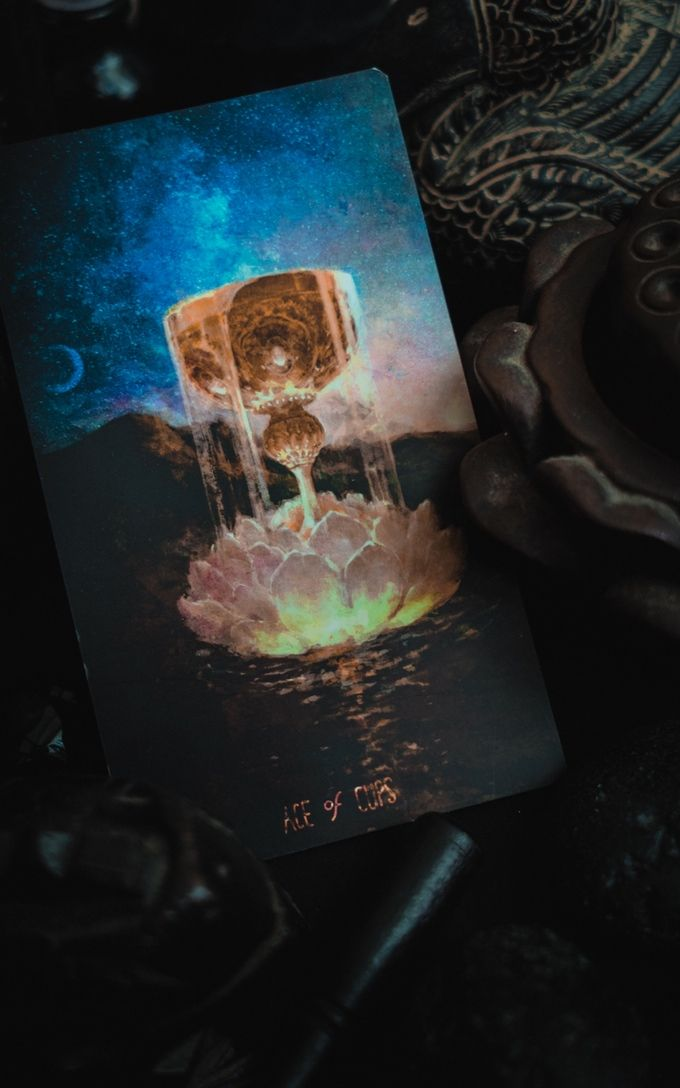 The Ace of Cups from Lunar Fire Tarot - Kickstarter October 2015 -If you love Tarot, visit me at www.WhiteRabbitTarot.com