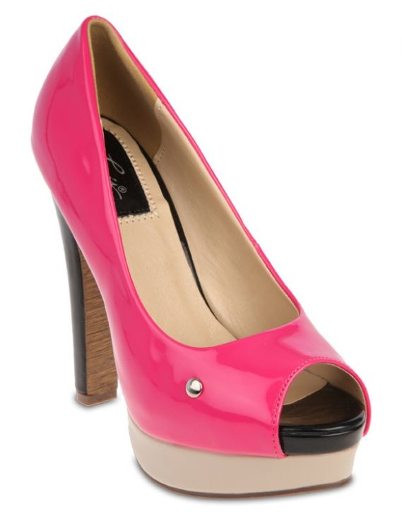 Pink Levi's Peep-Toe Platform Heels