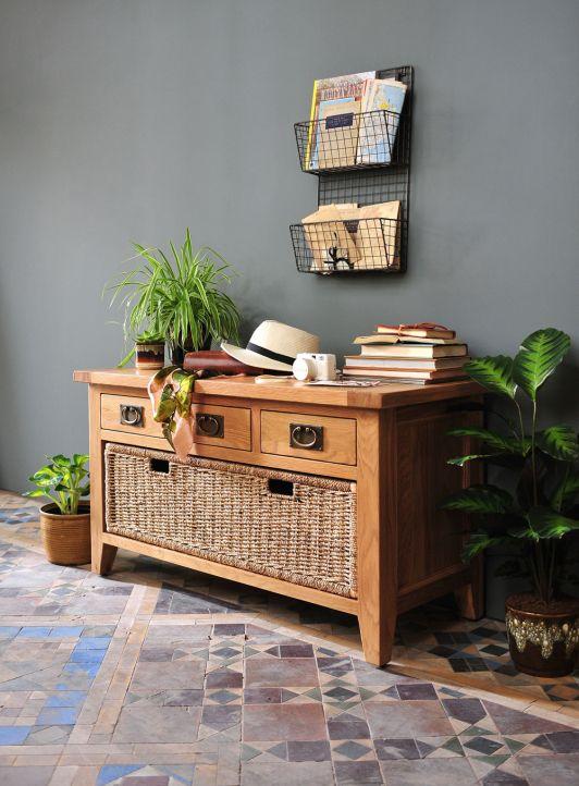 Oak Hallbench, Oak hallway furniture. Oak furniture. Montague Oak Range from The Cotswold Company