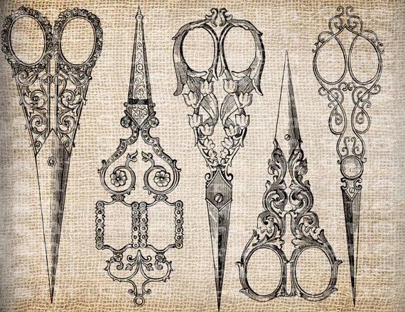 Antique Sewing Scissors Ornate Sew Seamstress by AntiqueGraphique