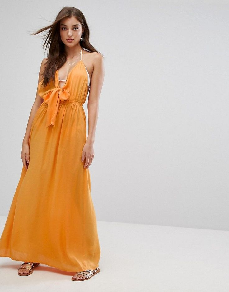 Get this Asos's long dress now! Click for more details. Worldwide shipping. ASOS Woven Tie Front Maxi Beach Dress - Orange: Beach dress by ASOS Collection, Lightweight woven fabric, Halterneck style, Triangle cups, Self-tie front, Relaxed fit, Machine was, 100% Viscose, Our model wears a UK 8/EU 36/US 4 and is 175cm/5'9� tall. Score a wardrobe win no matter the dress code with our ASOS Collection own-label collection. From polished prom to the after party, our London-based design team…