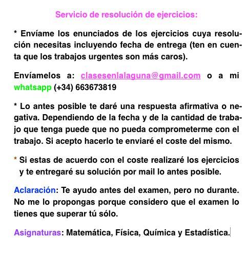Servicio de resolución de ejercicios de Matemática, Física, Química, Estadística.