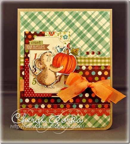 Card using Harvest Mouse (F169) from Great Impressions Stamps  From Cheryl (Shestamps)