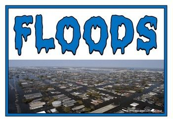 A rare set of printables explaining the natural disaster of floods. Includes: title page, what is a flood?, causes of a flood, effects of a flood, safety tips, how to control floods, and facts about floods. Visit our TpT store for more information and for other classroom display resources by clicking on the provided links.