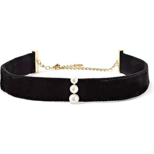 Anissa Kermiche 14-karat gold, pearl, diamond and velvet choker found on Polyvore featuring jewelry, necklaces, chokers, accessories, black, diamond choker necklace, 14k pearl necklace, hook necklace, pearl jewelry and graduation necklace