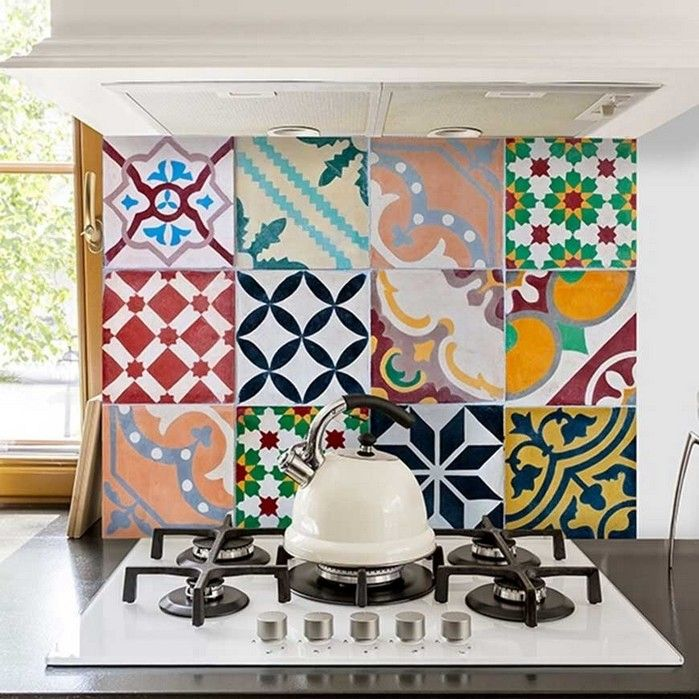Paraschizzi per cucina adesivo Piastrelle Colorate ...