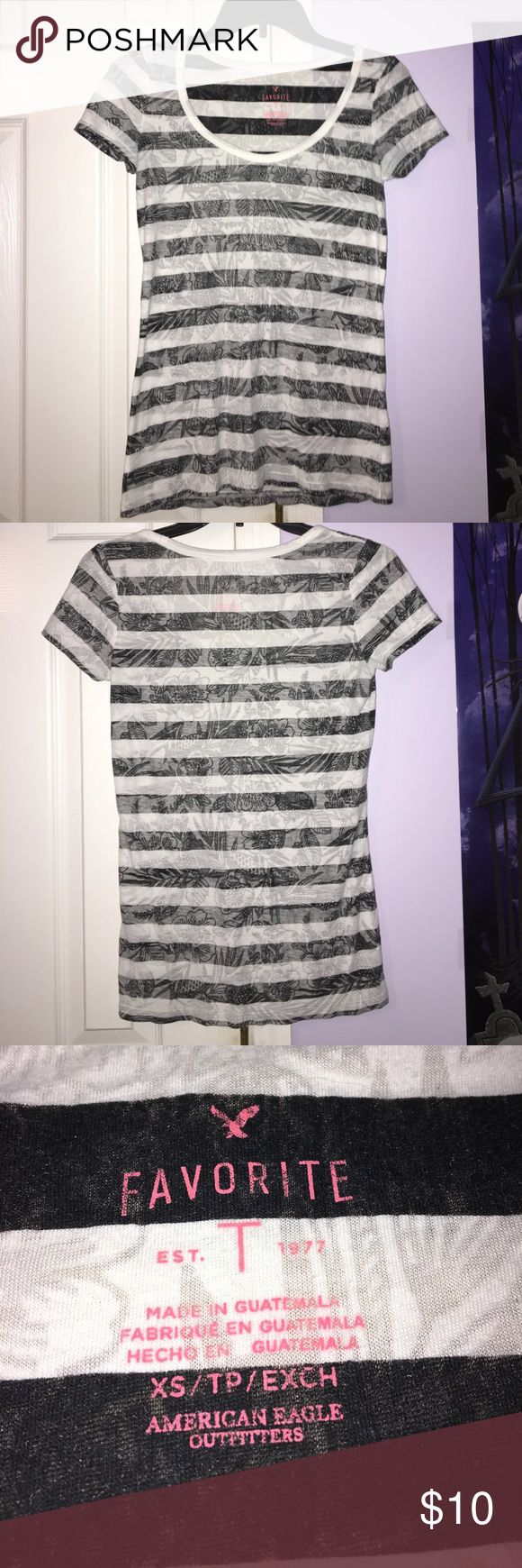 Striped Tshirt Black and white striped t shirt, thin with flower print American Eagle Outfitters Tops Tees - Short Sleeve