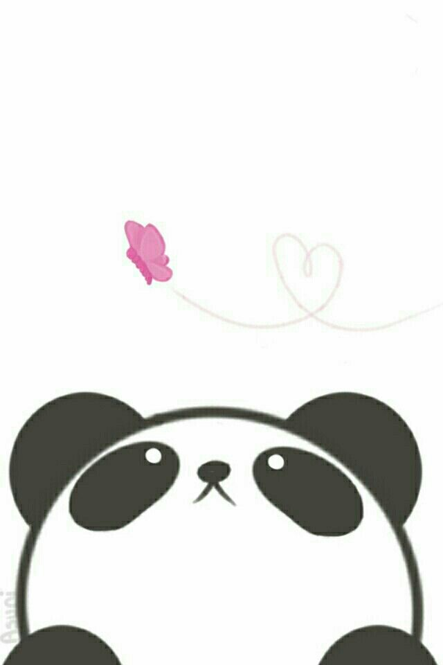 Phone wallpaper: Adorable panda and butterfly buddies