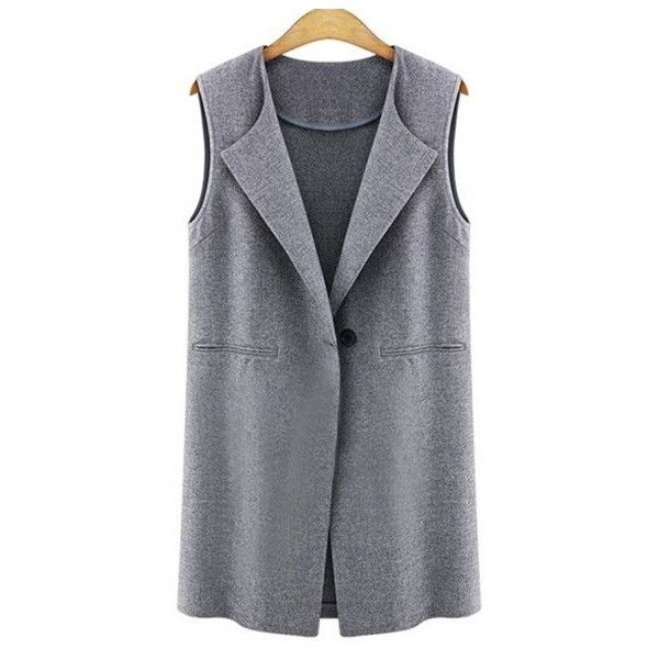 One Button Solid Color Wool Waistcoat (7.610 HUF) ❤ liked on Polyvore featuring outerwear, vests, wool waistcoat, woolen vest, wool vest and waistcoat vest