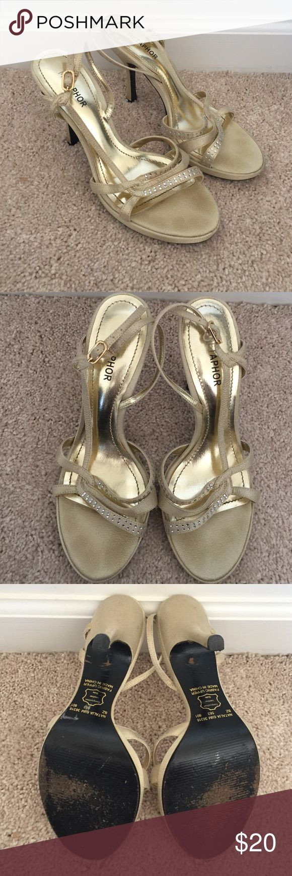 Gold Strappy Heels Gold strappy heels with silver rhinestones. Good condition. Great for weddings, prom, or homecoming. Metaphor Shoes Heels
