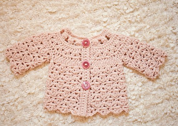 Crochet PATTERN   Fun Shell and Cluster Cardigan sizes baby