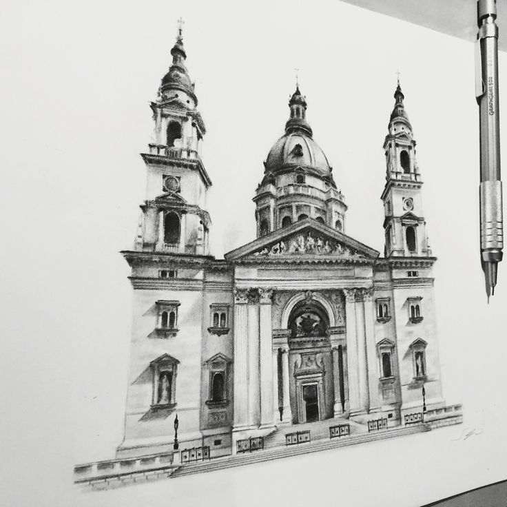 """St stephen's basilica. Pencil on paper 8""""x11""""."""