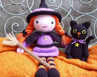 Morgana & Soots,Witch and Cat Amigurumi Dolls Crochet Pattern