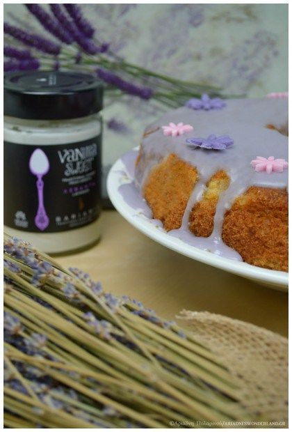 Lavender cake with vanilla sweet spoon glaze!