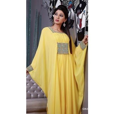 #Abayas & #Kaftans #Yellow Color Long Sleeve #Kaftan$150.00