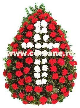 Jerba din garoafe albe si rosii, clasica, simpla, rezistenta. Coroana funerara din flori rezistente si frumoase, cea mai utilizate flori pentru aceste momente triste!