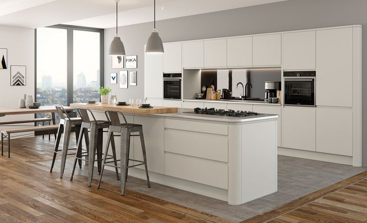Modern Contemporary Strada Matte Kitchen In a Painted Light grey
