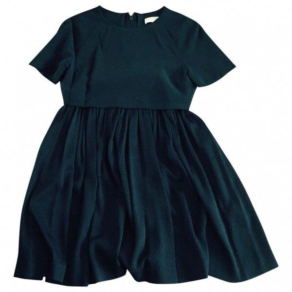 Black Silk Dress BALENCIAGA (£315) ❤ liked on Polyvore featuring dresses, balenciaga dress, silk dress and balenciaga