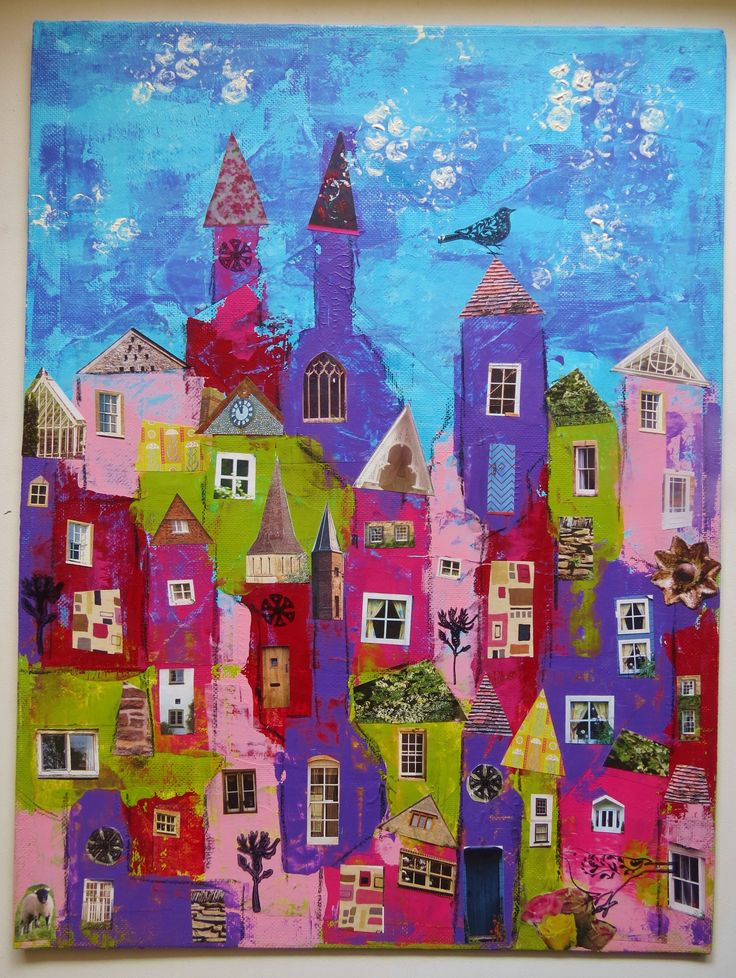 Little village; credit card painting & collage