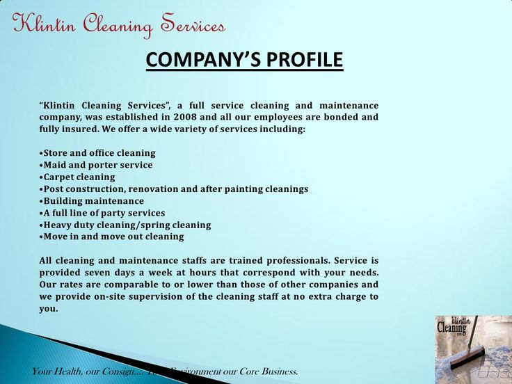 cleaning business profile