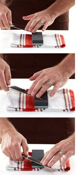 Home-Dzine - How to sharpen knives with a whetstone   wet stone