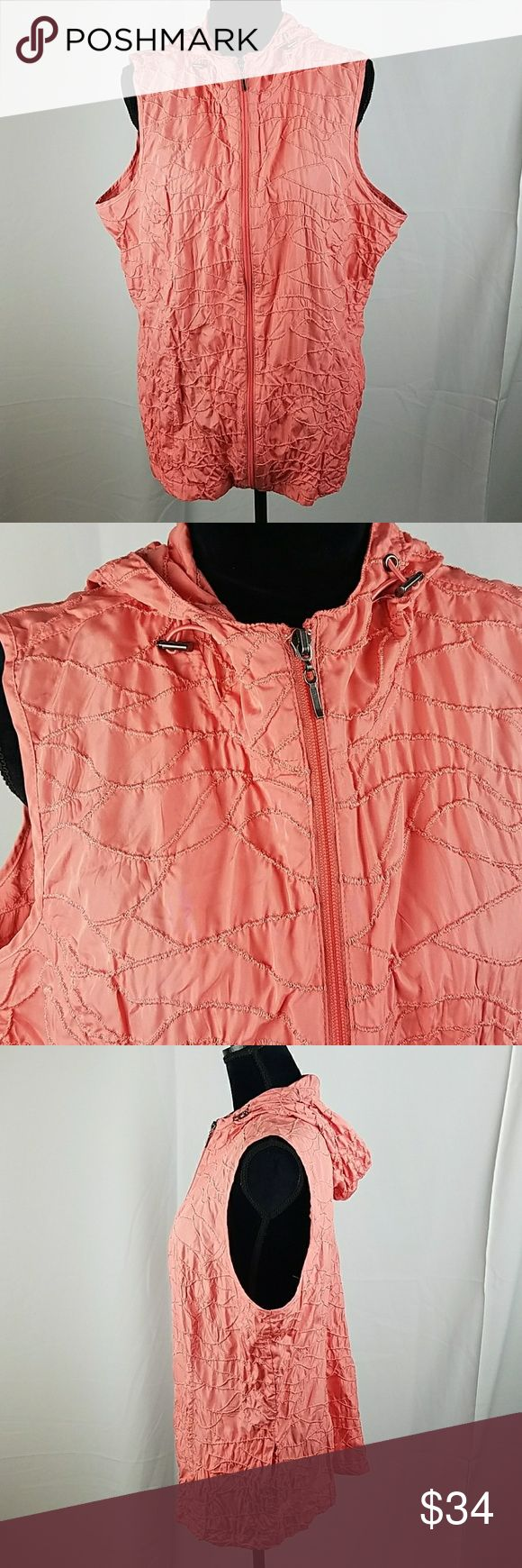 "Weekends by Chico's women XL orange zip up vest Weekends by Chico's women XL orange zip up vest textured hooded.  Under arm to under arm: 25.5"" Length: 28.5"" Chico's Jackets & Coats Vests"