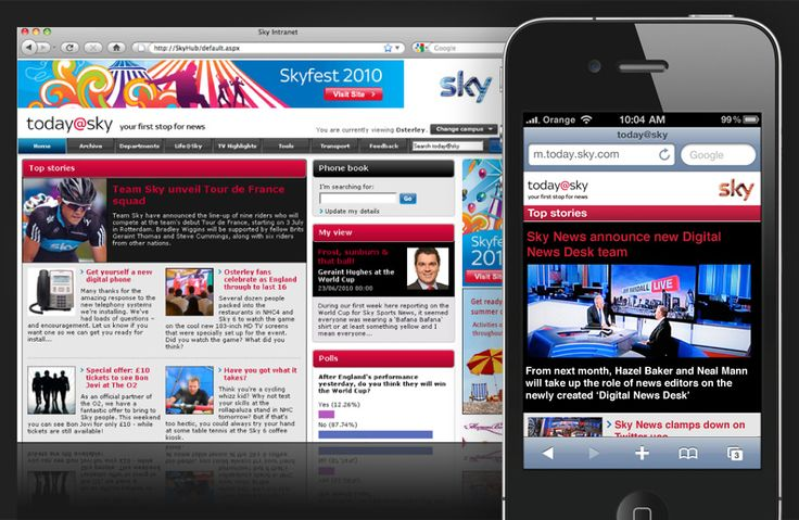 Designing Sky's intranet and mobile intranet experience. Connecting 16,000 employees across a wide range of devices
