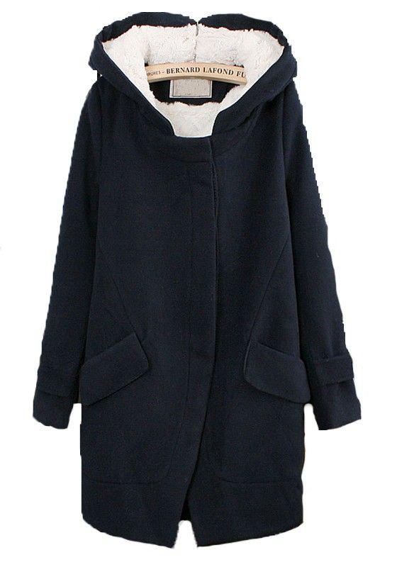 Navy Blue Pockets Long Sleeve Dacron Wool Coat-