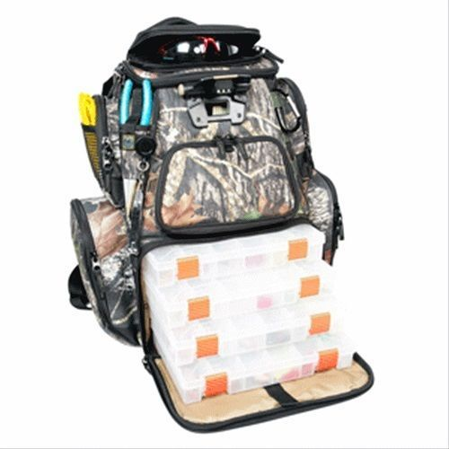 Fishing Tackle Box Backpack Lighted Trays Mossy Oak Outdoors Camping Trips - Tackle Boxes