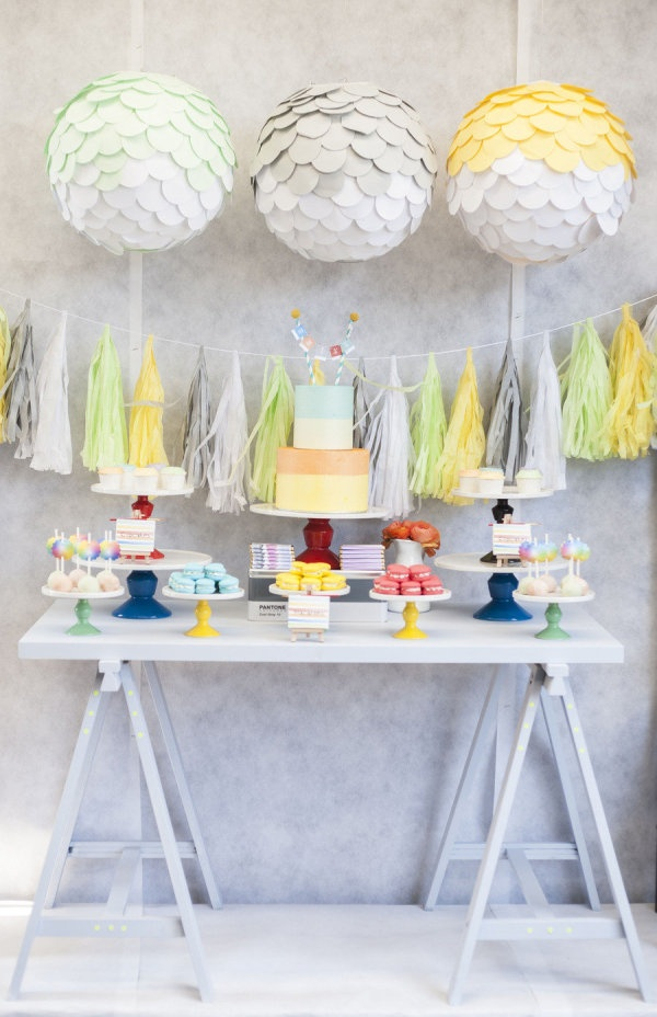 Pantone inspired dessert table for a children's party