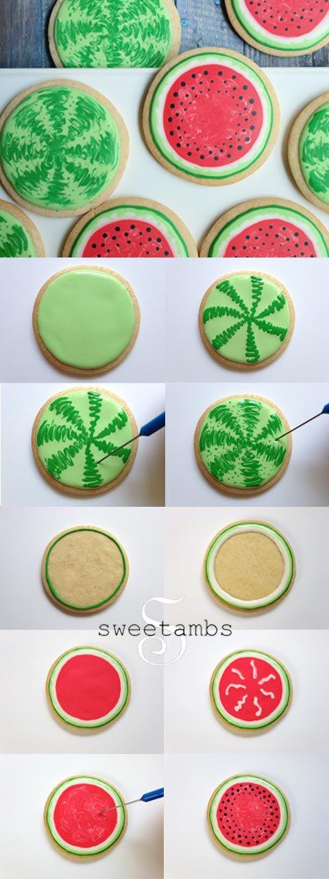 Watermelon cookie tutorial http://www.sweetambs.com/tutorial/watermelon-cookies/: