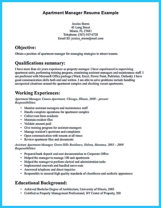 11 best property manager resume images on Pinterest Resume - assistant property manager resume sample