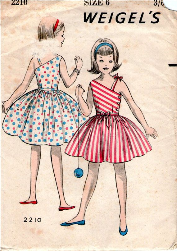 RARE Australian Weigel's 2210:Girls Vintage Sun Dress Paper Sewing Pattern Fashion 1950's Size 6 Breast 24