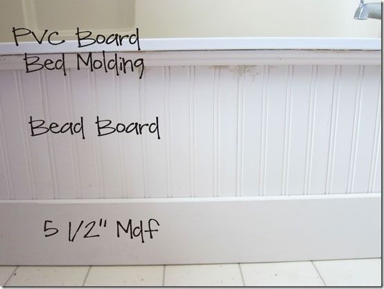 Decorative molding on the outside of the tub makes a custom look. Must do this.