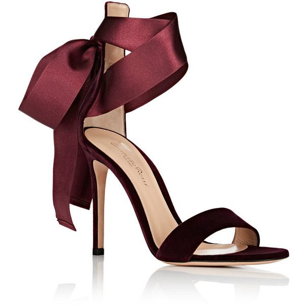 Gianvito Rossi Women's Gala Velvet Ankle-Tie Sandals ($895) ❤ liked on Polyvore featuring shoes, sandals, heels, velvet sandals, gianvito rossi sandals, ankle strap shoes, high heeled footwear and ankle tie sandals