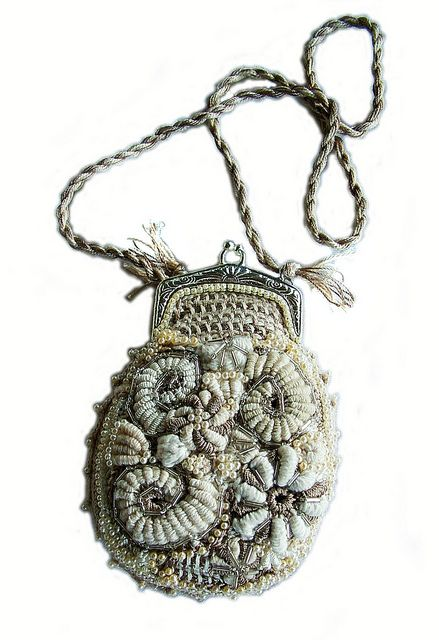 Freeform crochet purse by Renate Kirkpatrick. love those bullion spirals!